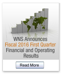 WNS Announces First Quarter Fiscal 2016 Earnings